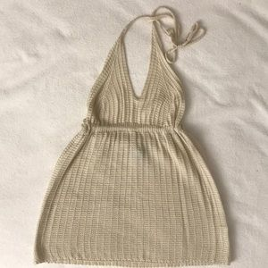 Beige Knitted Babydoll Halter Top